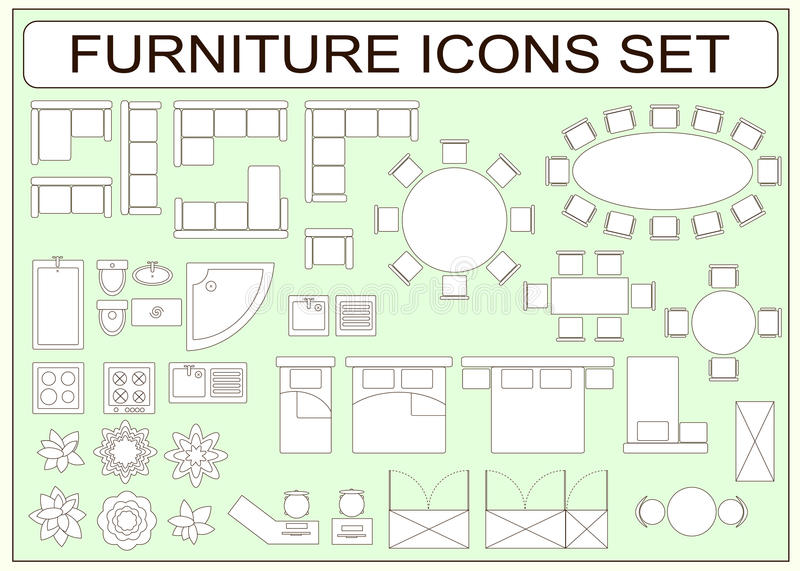 Set Of Simple Furniture Vector Icons As Design Elements Stock Vector Illustration Of Improvement Basin 73760359