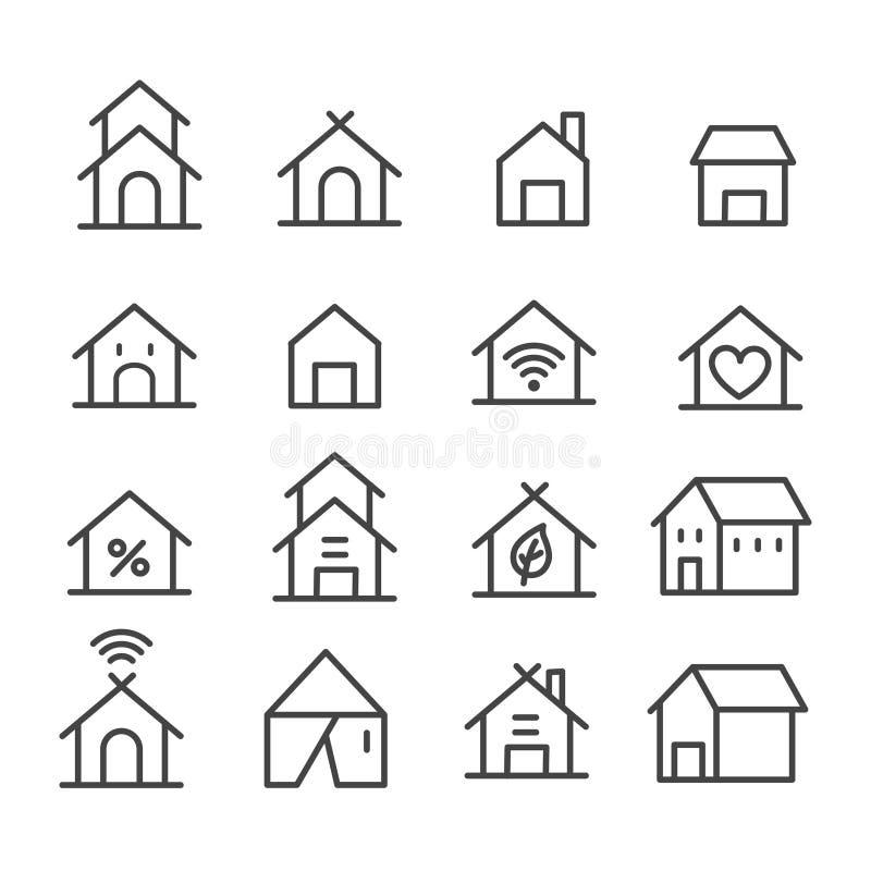 Set of simple home icon. House, hotel symbol isolated on white background stock illustration