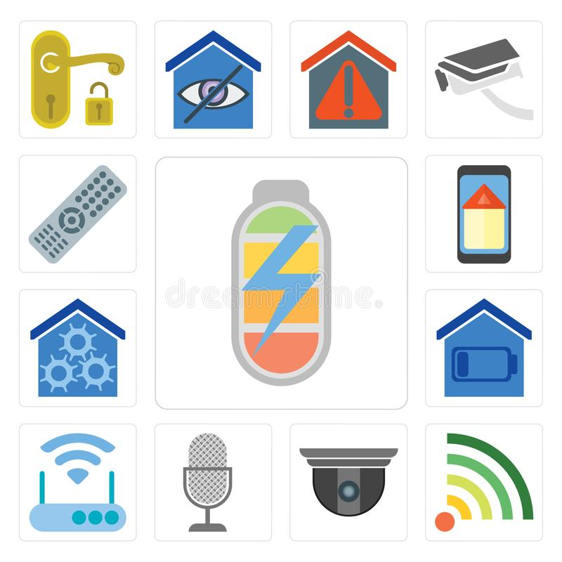 Set of Power, Wifi, Security camera, Voice control, Modem, Smart royalty free illustration