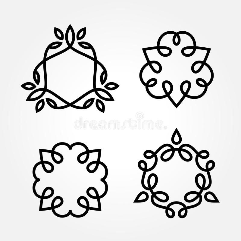 Set of simple line art monogram logo design stock photography