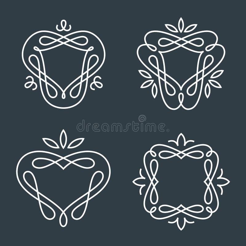Set Of Simple Line Art Monogram Logo Design Stock Vector