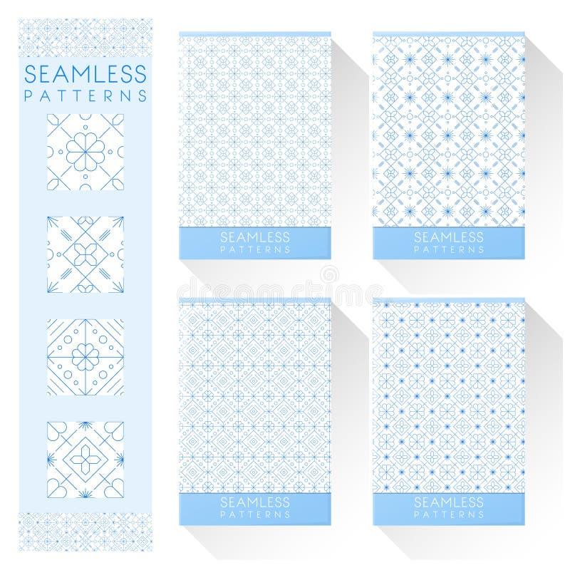 Set of simple line seamless patterns. Vector , illustration stock illustration