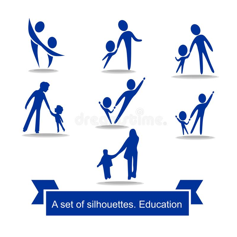 A set of simple logos. Silhouettes of people holding hands. Man and child. stock illustration
