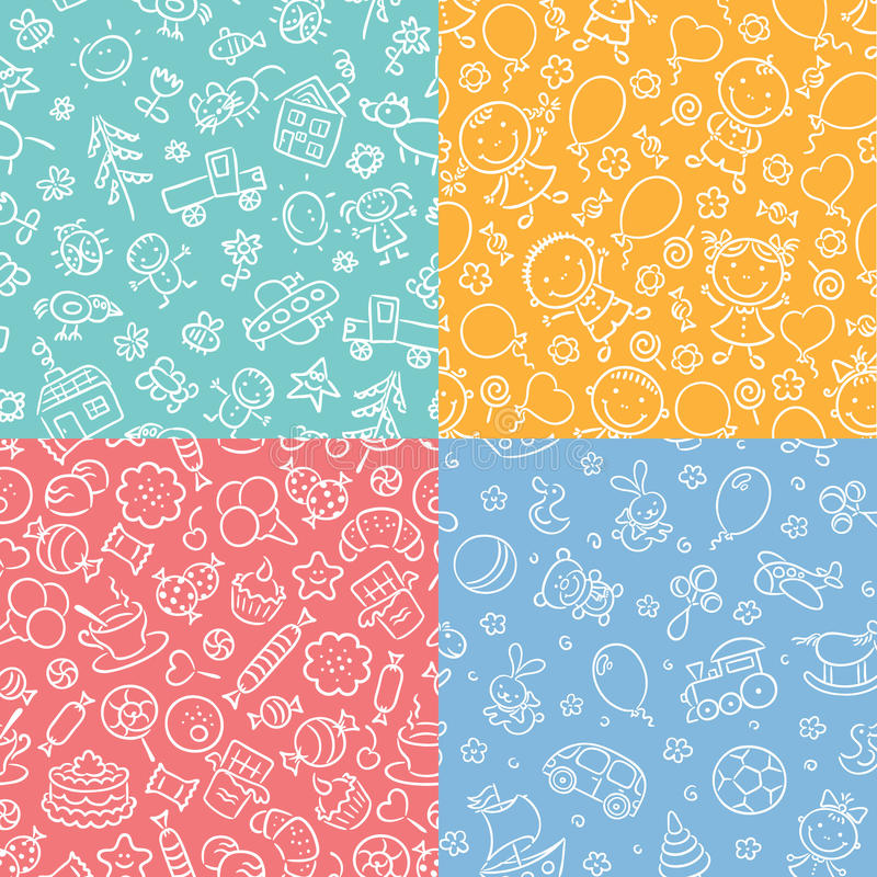 Set of simple monochrome seamless patterns with kids, sweets, toys stock illustration