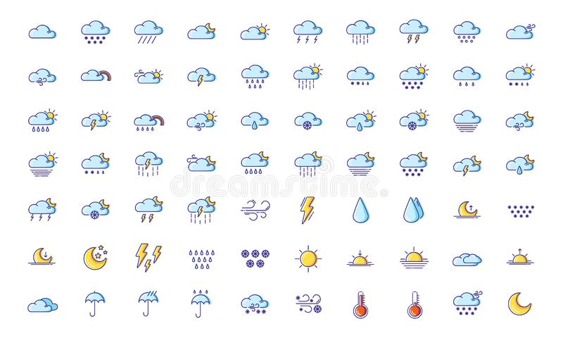 Weather Line Filled Color Icons. Set of simple outline filled colorful icons - weather or forecast sings with blue clouds, snow, rain, fog, wind, sun and moon royalty free illustration