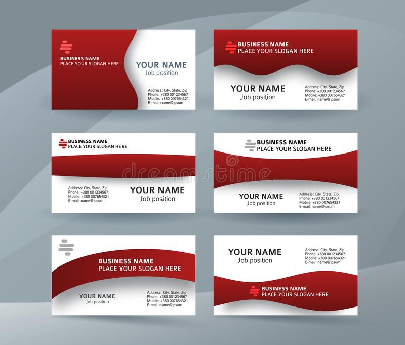 Set of simple pattern business card layout sided red04 vector illustration