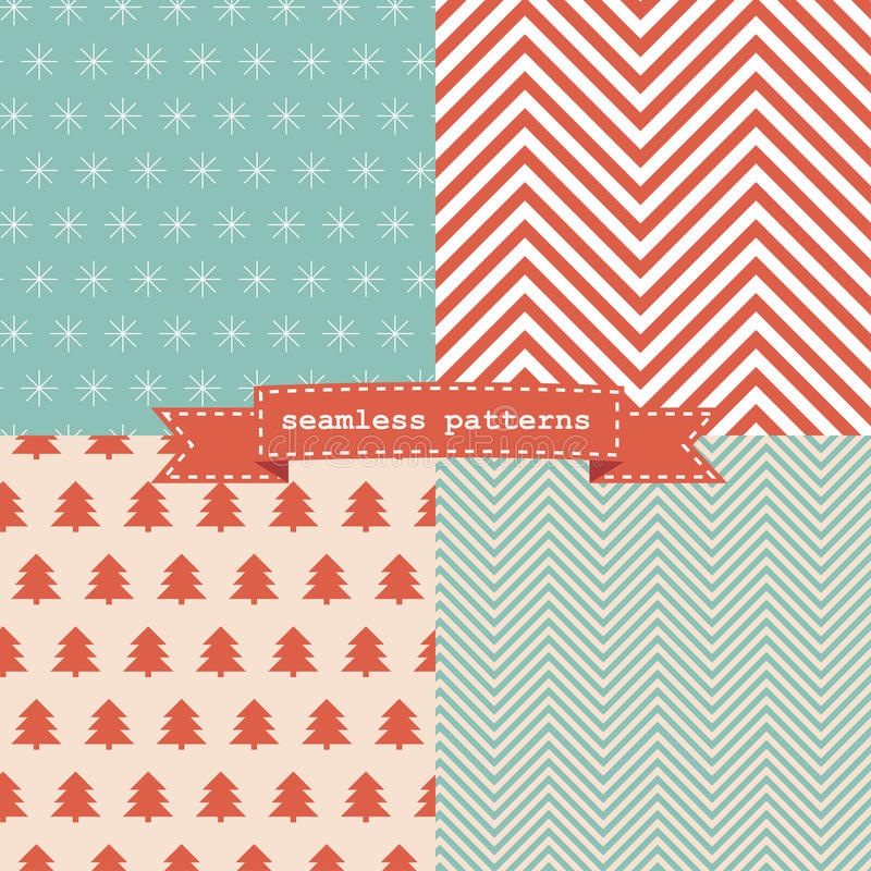 Set of simple retro Christmas patterns vector illustration