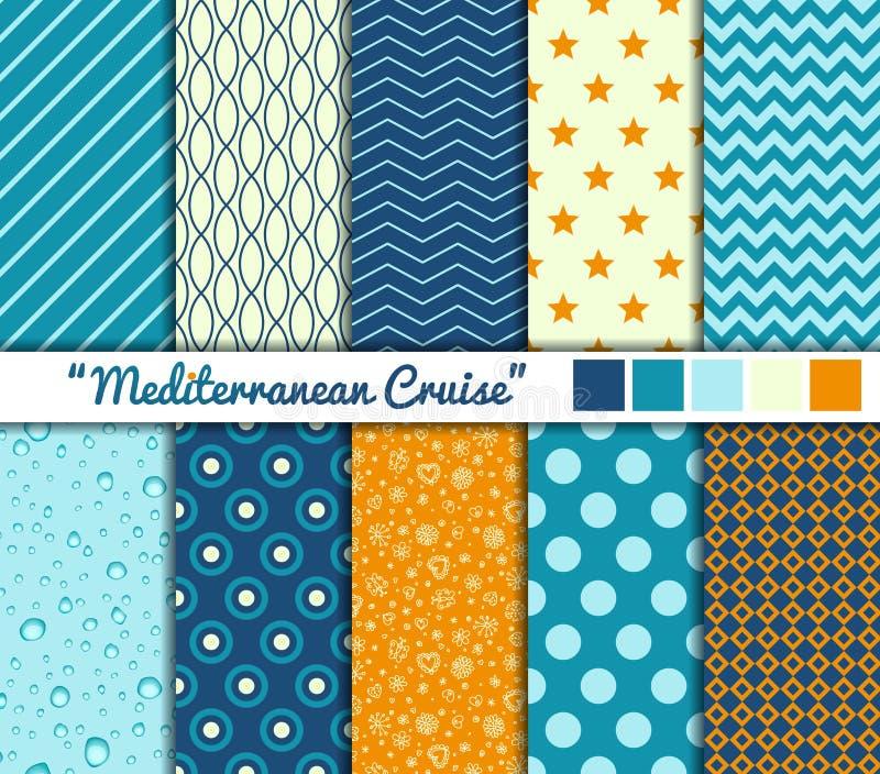 Set of 10 simple seamless patterns. 'Mediterranean. Cruise stock illustration
