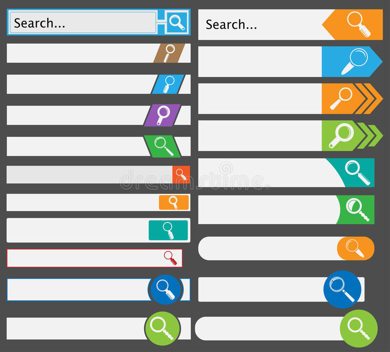 Set of Simple Search Bars vector illustration