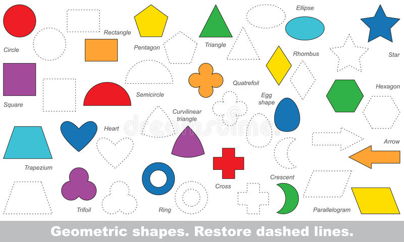 Set of simple shapes to be traced. Vector trace game. royalty free illustration