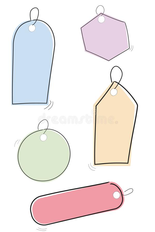 Set of Simple Sketchy Blank Tags with pastel color Isolated on white stock illustration