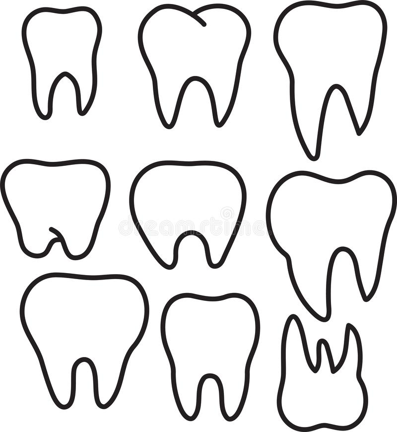 Set of simple stomatology vector logos. Elegant one line teeth drawings. Tooth icon set. stock illustration