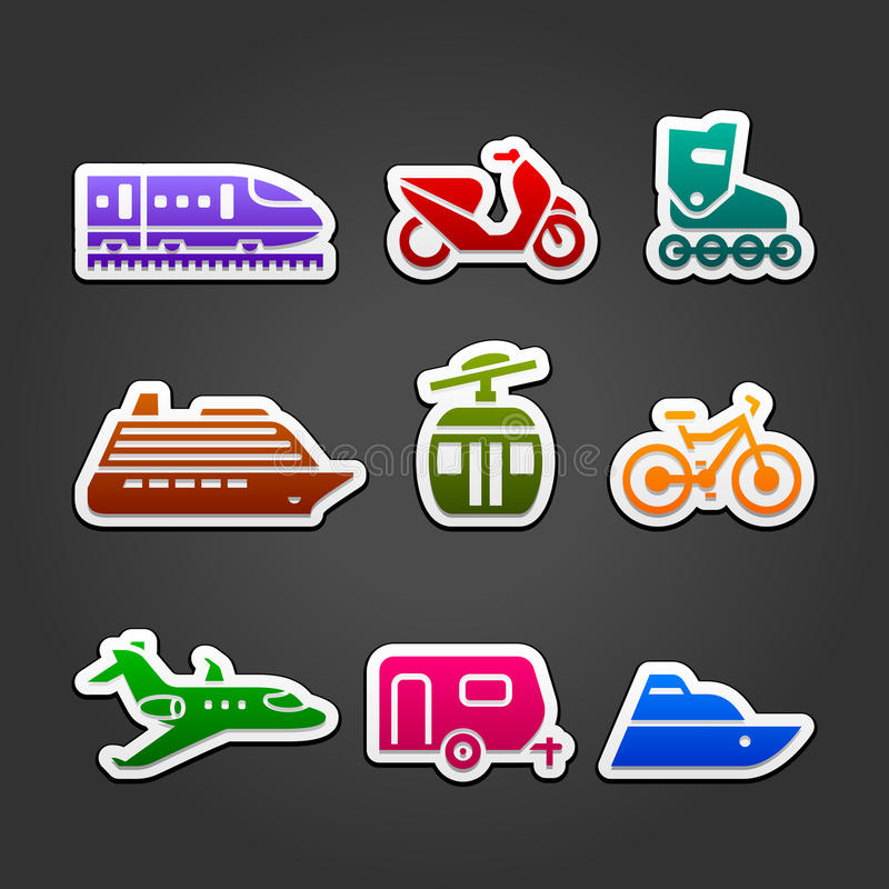 Download Set Simple Transportation Color Icons Stock Vector - Image: 26473526