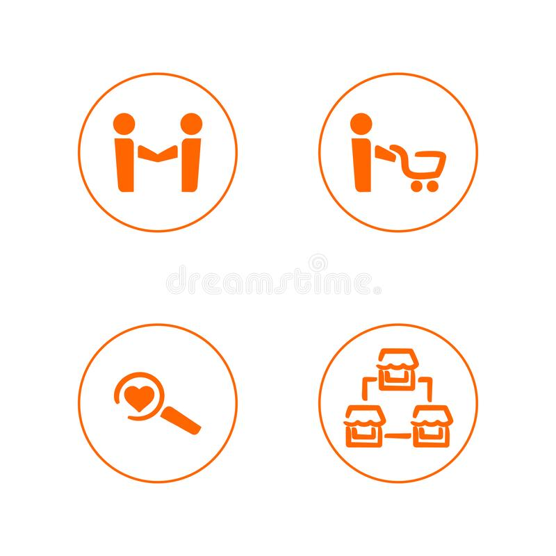 Set of simple vector outline icons for online store and website. Four symbols: cooperation, shopping, finding reasons and a chain vector illustration