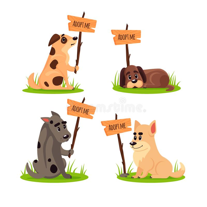 Set of sitting homeless dogs with a poster Adopt me. Dont buy - help the homeless animals find a home, kit of sad. Puppies, pet adoption - vector illustration vector illustration