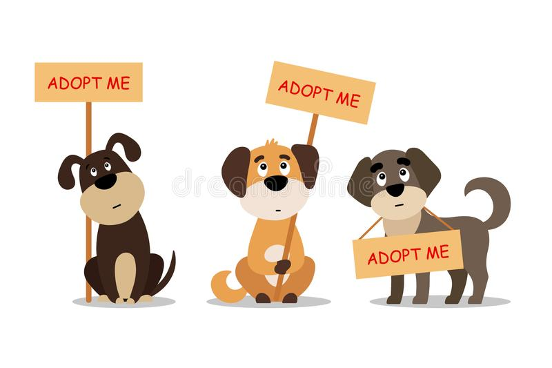 Set of sitting and standing dogs with a poster Adopt me. Dont buy - help the homeless animals find a home, kit of sad vector illustration