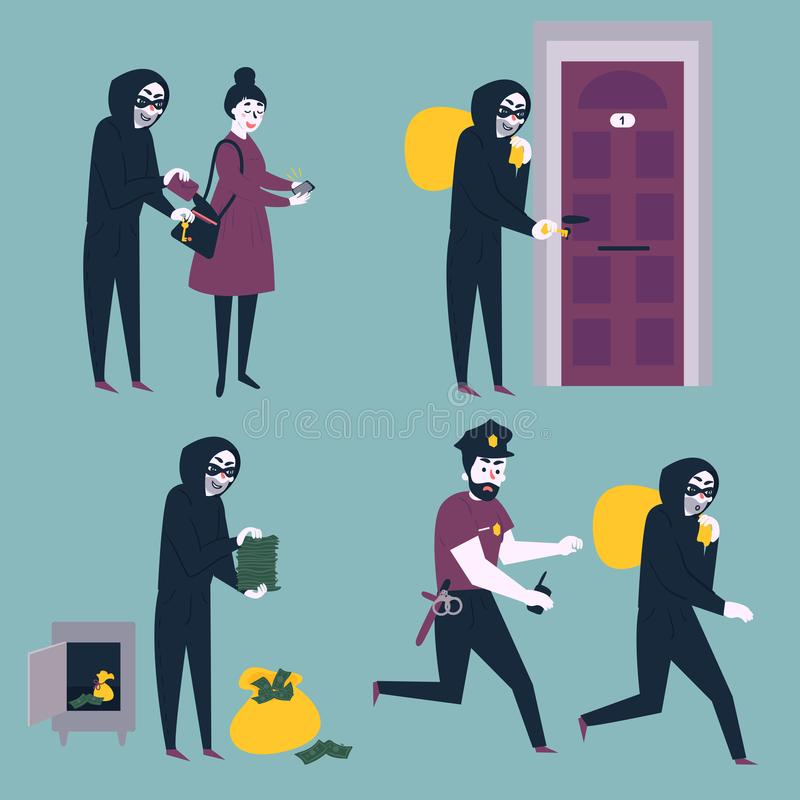 Set of thief robber burglar trying to steal money vector illustration