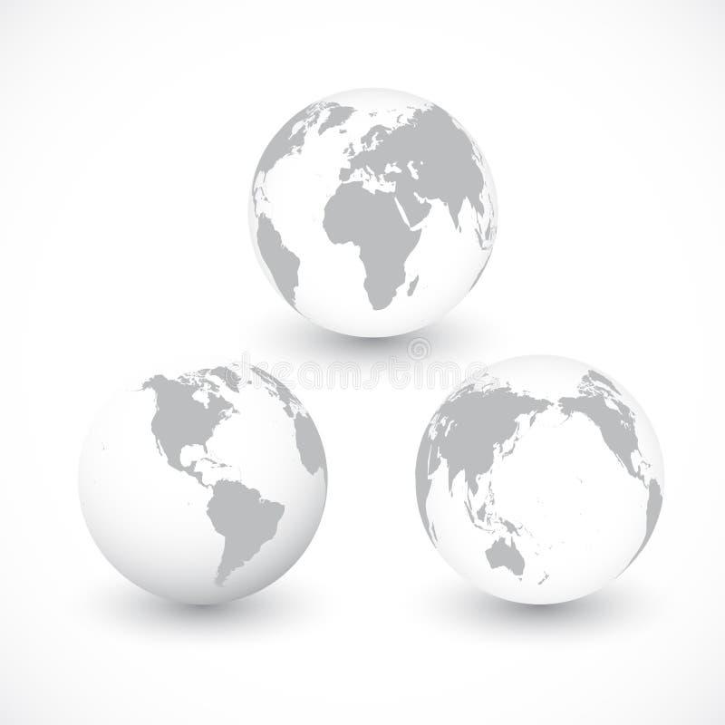 Set Siwiałyśmy kul ziemskich wektoru Światowa ilustracja royalty ilustracja