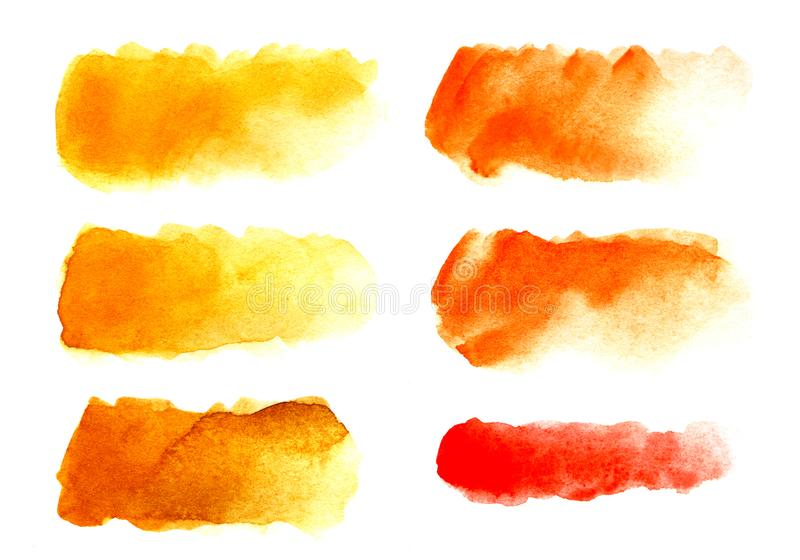Set of six Abstract headline background. A shapeless oblong spot of yellow, red, orange color. royalty free stock images