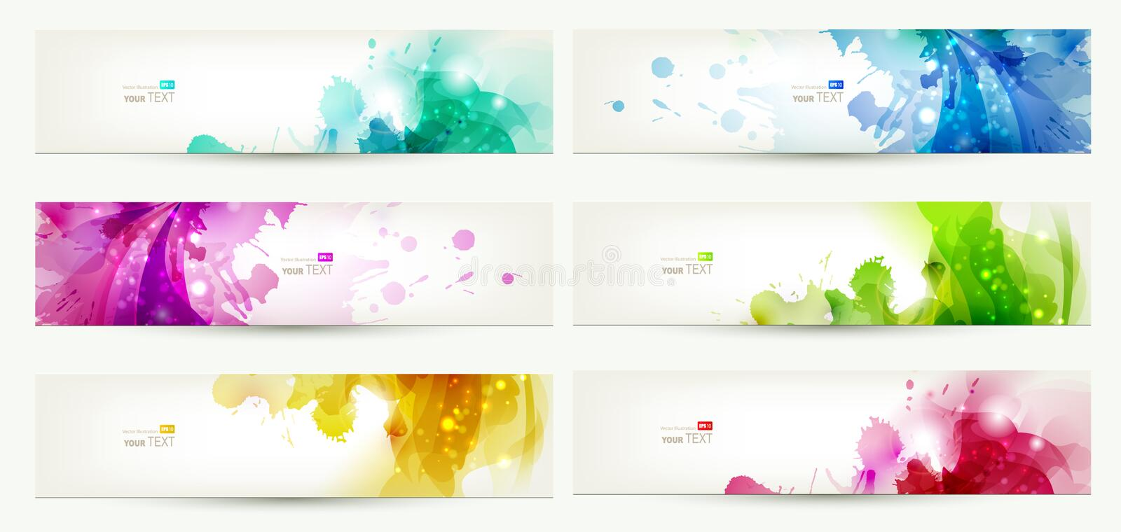 Set of six banners vector illustration