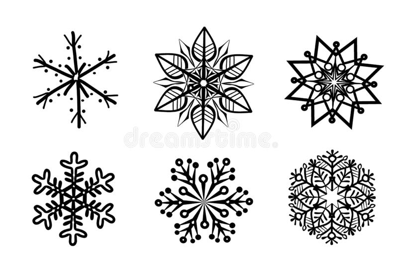 Set of six black silhouette of Christmas snowflakes isolated on white background. Illustration, design, collection, flowers, ornament, simple, retro, art stock photo