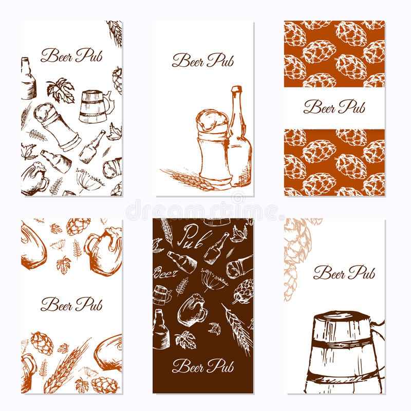 Set of six business cards. Beer company. Restaurant theme. Vector illustration. vector illustration