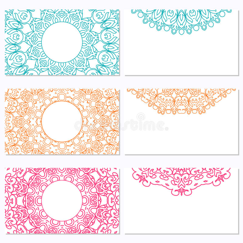 Set of six business cards with mandala. Corporate identity vector template for your design. Vintage pattern in retro style with o vector illustration