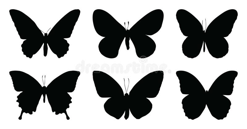 Black butterfly icon isolated on white background stock illustration