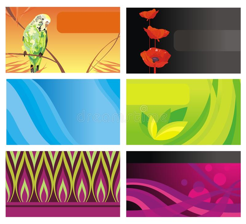 Set from six cards royalty free stock photo