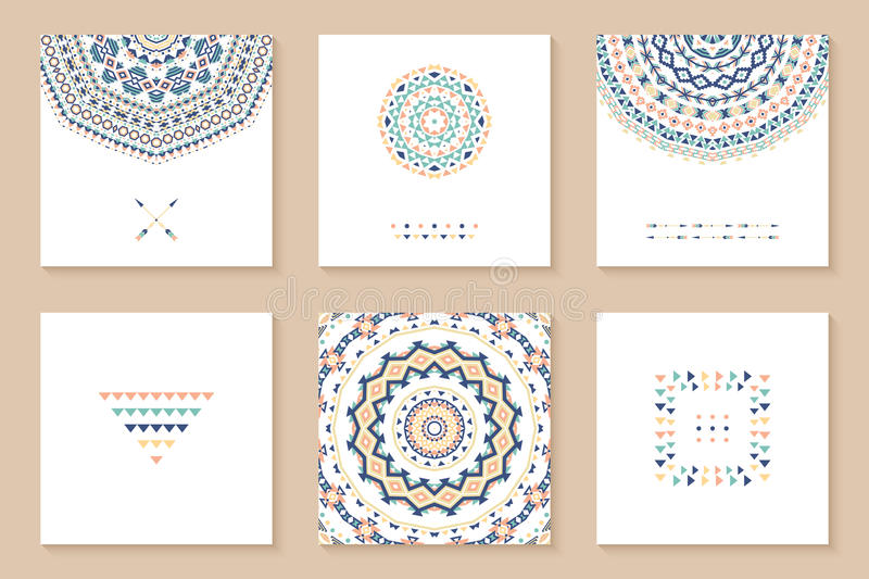 Set of six cards with ethnic design. vector illustration