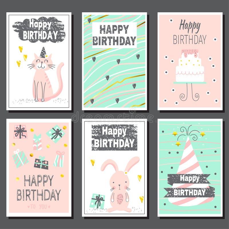 Set of six children's birthday cards. royalty free illustration