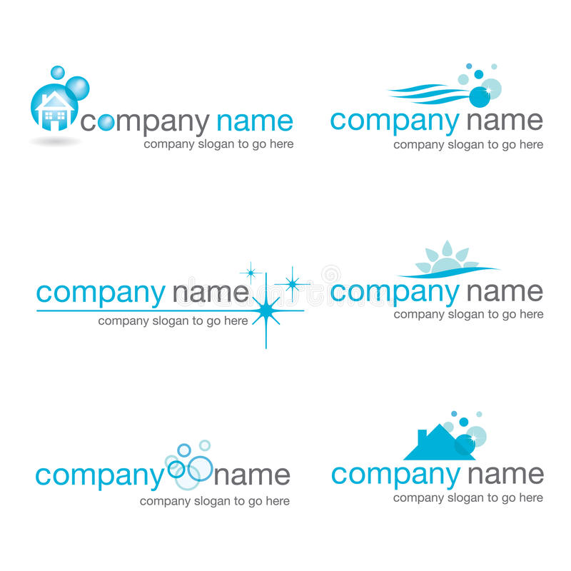 Set of six cleaning logos (vector) stock photo