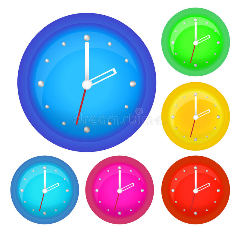Set of six clocks. Isolated on the white background vector illustration