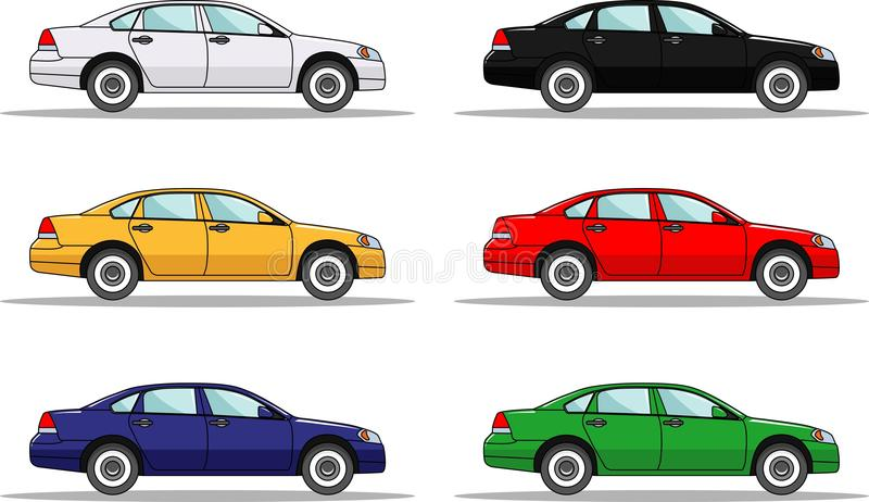 Set of six colored cars isolated on white vector illustration
