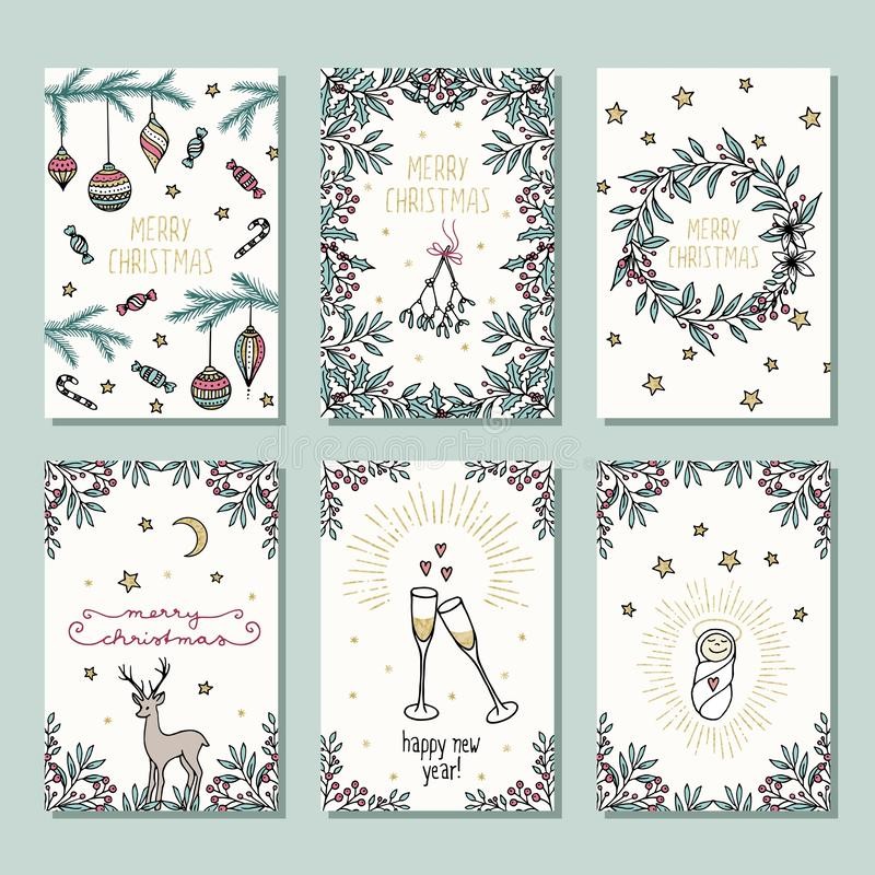 Set of six colorful Christmas cards royalty free illustration