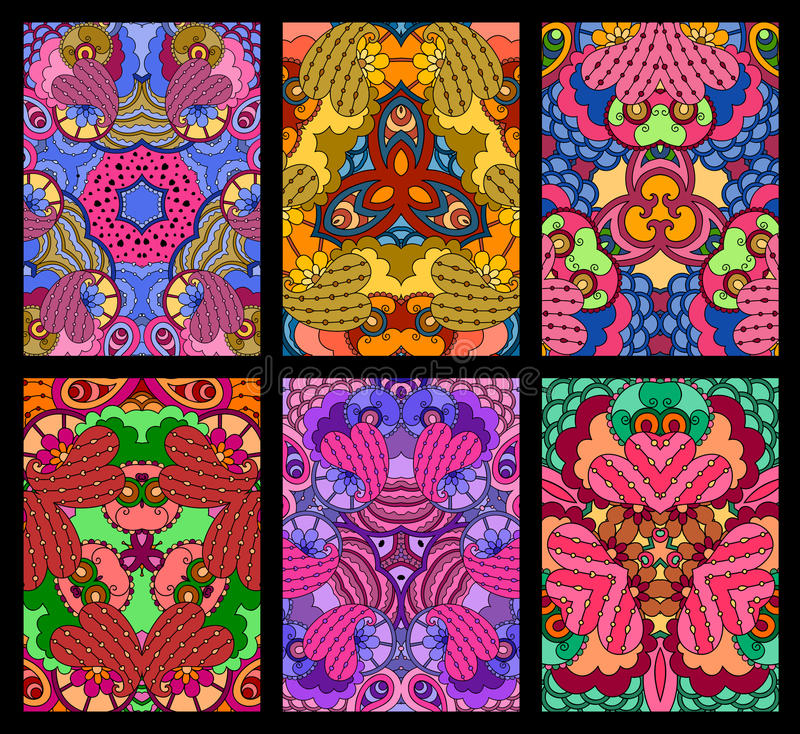 Set of six colorful decorative greeting cards on black background. royalty free illustration
