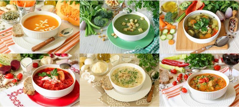 Set of six different soups borscht, kharcho, light vegetables, champignon mushrooms, broccoli celery and pumpkin puree stock images