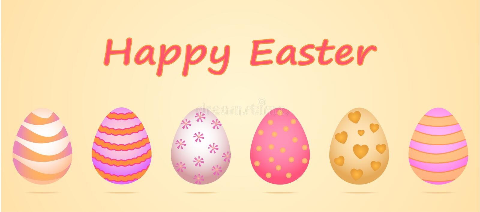 A set of six eggs for the celebration of Happy Easter. A pattern in gentle pastel shades, the main colors are yellow, pink. Vector pattern is made in a cute stock illustration