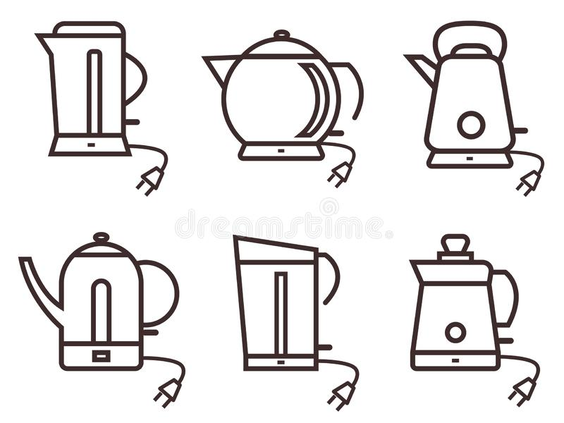 A set of six electric kettles of various shapes. stock photography