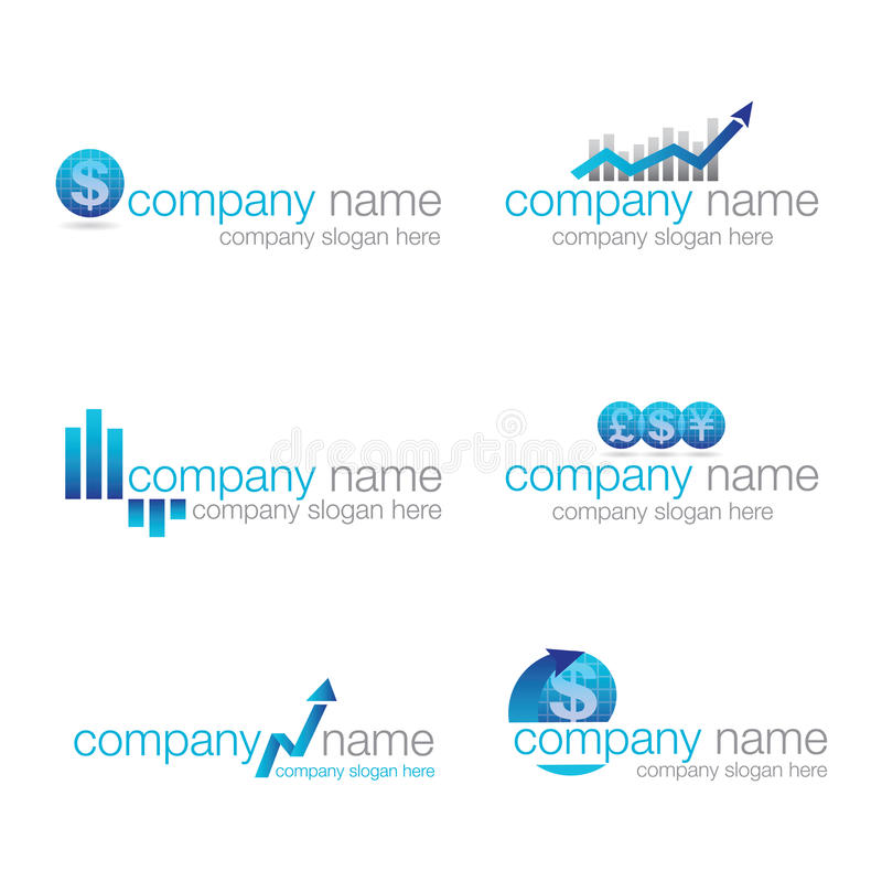 Set of six financial logos (vector) royalty free stock image