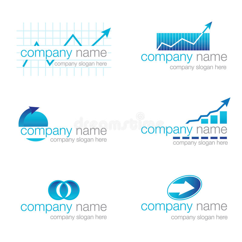 Set of six financial logos (vector) stock photography