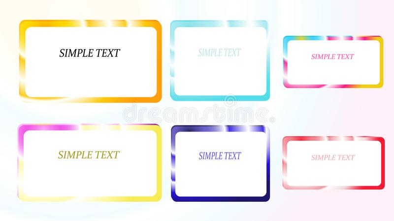 A set of six frames of rectangular and square, edging gradient metallic shiny shining frames with overflows, reflows of abstract, vector illustration