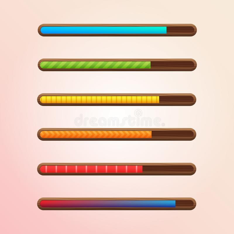 Set of six game resource bar in wooden frame with different textures. Cartoon style gui elements for mobile game. royalty free illustration