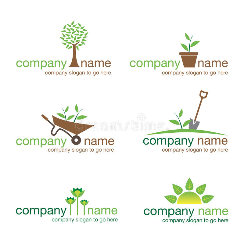 Set of six gardening and nature logos (vector) stock photo