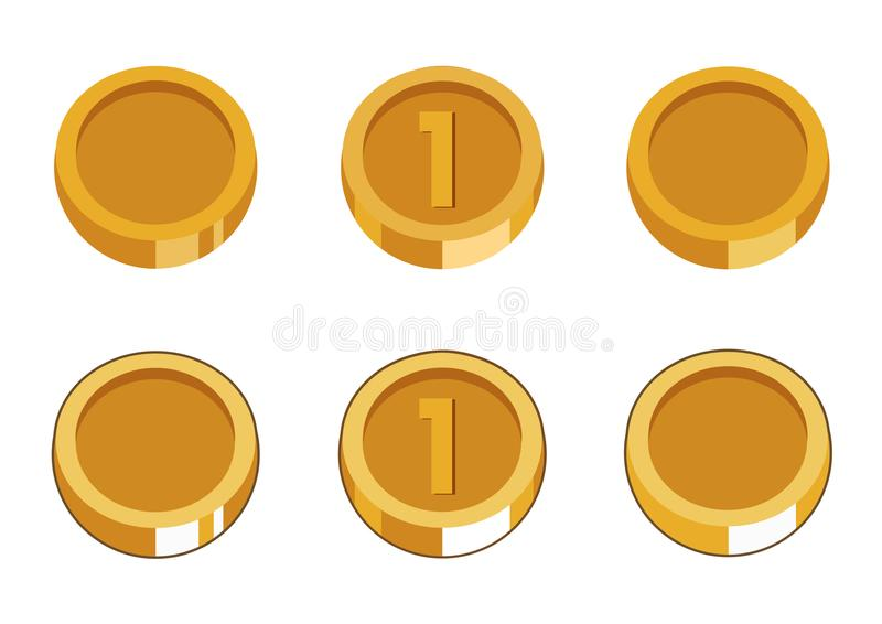 Set of six gold coins. royalty free stock images