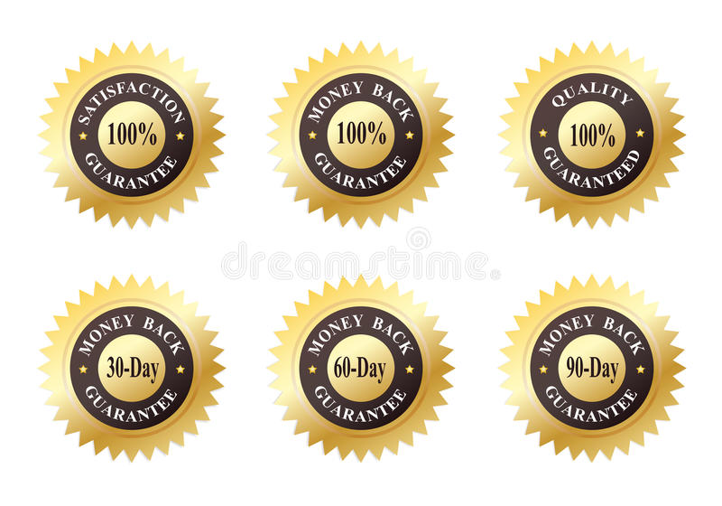 Set of Six Gold Seals. Of quality guarantee and money back guarantee royalty free illustration