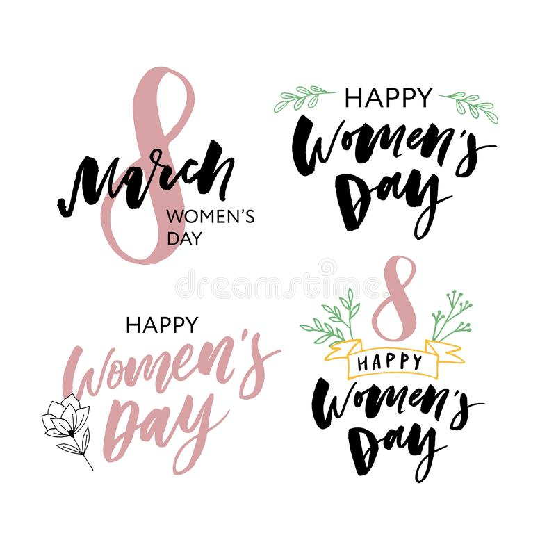 Set of six greeting cards for international womens day. Eight march. Usable for prints. Vector design. Hand drawn elements royalty free illustration