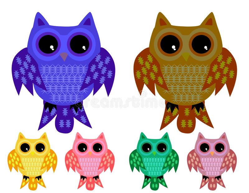 A set of six half-asleep owls with half-closed eyes with ornamented wings and tails. In different color variations royalty free illustration