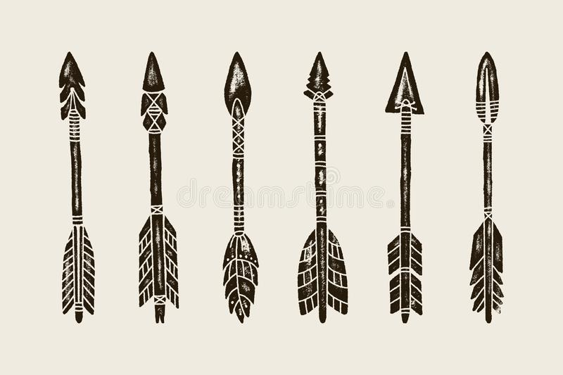 A set Of six Hand Draw Ethnic Indian Arrow. Vector Illustration of hipster Arrows Isolated on White Background vector illustration