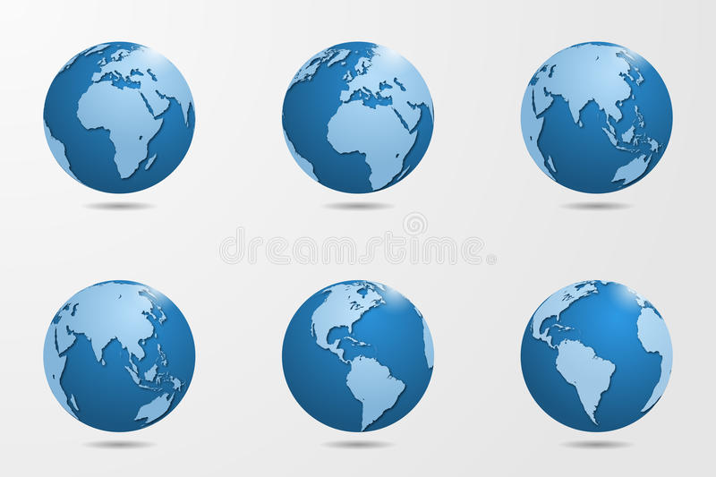 Set of six high detailed vector globes. Vector illustration royalty free illustration
